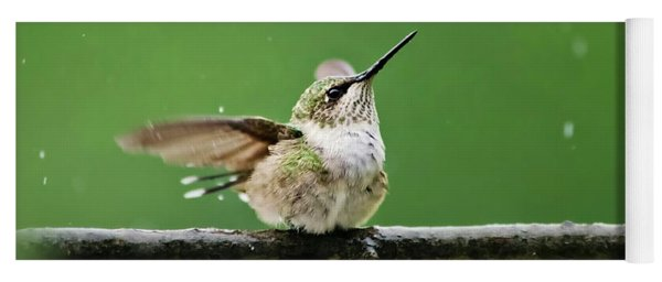 Hummingbird In The Rain Yoga Mat