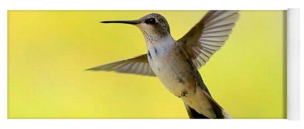 Hummingbird In Yellow Yoga Mat