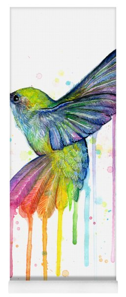 Hummingbird Of Watercolor Rainbow Yoga Mat