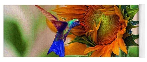 Hummingbird On Sunflower Yoga Mat