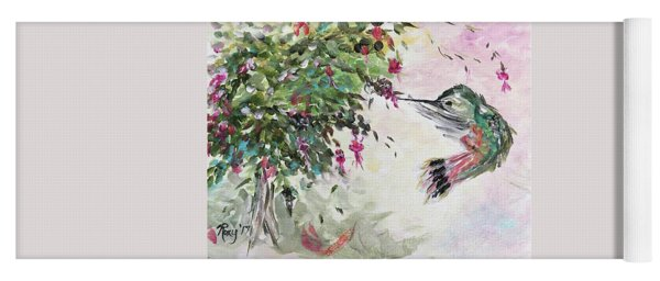 Hummingbird With Fuchsias Yoga Mat