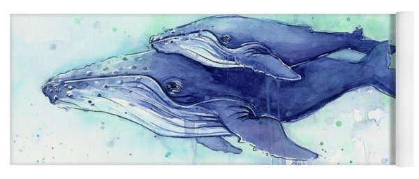 Humpback Whale Mom And Baby Watercolor Yoga Mat