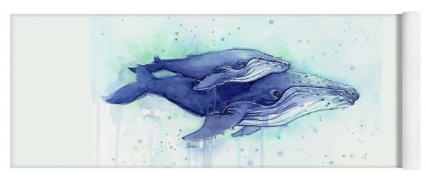 Humpback Whales Mom And Baby Watercolor Painting - Facing Right Yoga Mat