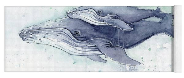 Humpback Whales Painting Watercolor - Grayish Version Yoga Mat