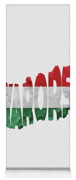 Hungary Typographic Map Flag Yoga Mat