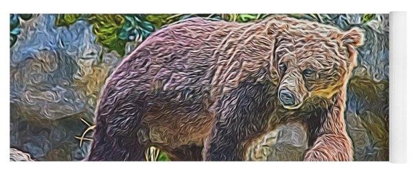 Yoga Mat featuring the digital art Hunting Bear by Ray Shiu