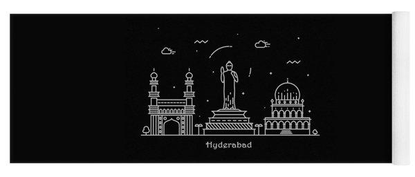 Hyderabad Skyline Travel Poster Yoga Mat