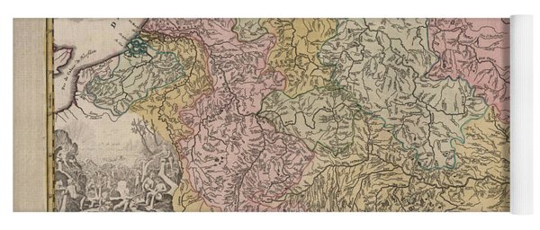 Hydrographia Germania - The Rivers Of Germany - Antique Geographical Map - Historic Map Yoga Mat