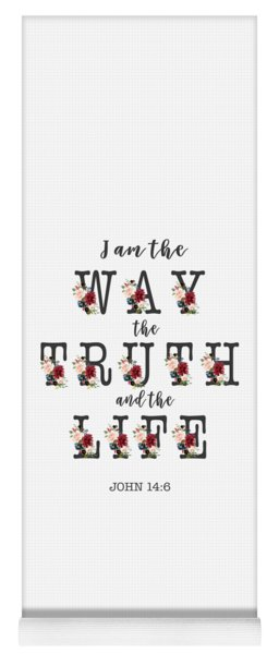 Yoga Mat featuring the painting I Am The Way The Truth And The Life Typography by Georgeta Blanaru