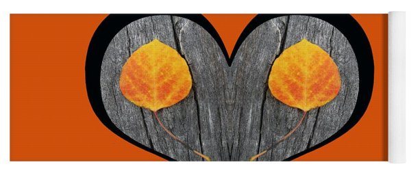 I Chose Love Heart Filled With Two Aspen Leaves Yoga Mat