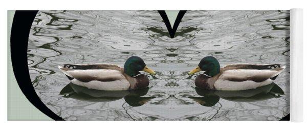 I Choose Love With A Pair Of  Mallard Ducks Framed In A Heart Yoga Mat