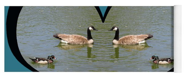 I Choose Love With A Spoonbill Duck And Geese On A Pond In A Heart Yoga Mat