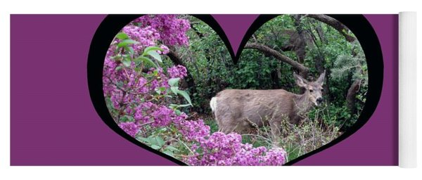 I Chose Love With Deers Among Lilacs In A Heart Yoga Mat