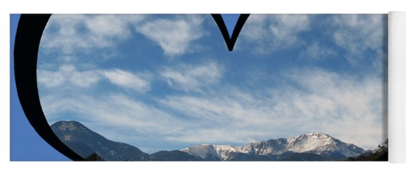 I Choose Love With Pikes Peak And Clouds In A Heart Yoga Mat