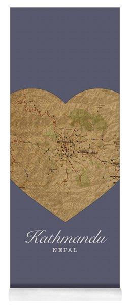 I Heart Kathmandu Nepal Street Map Love Series No 098 Yoga Mat