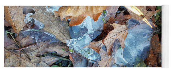 Ice And Fallen Leaves Yoga Mat