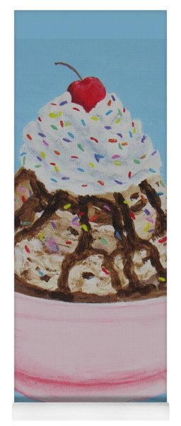 Yoga Mat featuring the painting Ice Cream Sundae With Sprinkles by Nancy Nale