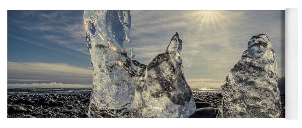 Yoga Mat featuring the photograph Iceberg Fingers Catching The Sun by Rikk Flohr