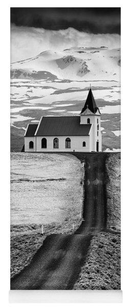 Iceland Ingjaldsholl Church And Mountains Black And White Yoga Mat
