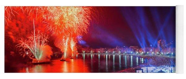 Iconic And Breath-taking Fireworks Display On Copacabana Beach,  Yoga Mat