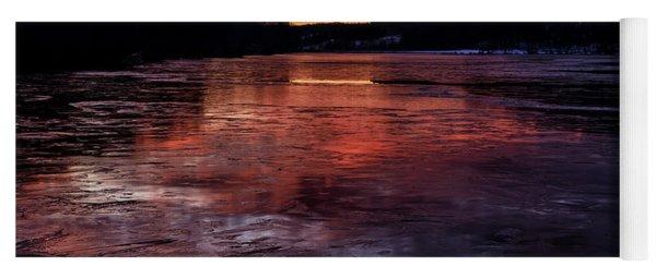 Icy Dawn On The Lake Yoga Mat