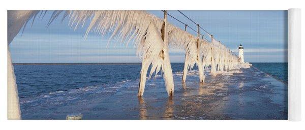 Icy Manistee Pierhead Lighthouse Yoga Mat