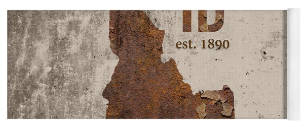 Idaho State Map Industrial Rusted Metal On Cement Wall With Founding Date Series 045 Yoga Mat