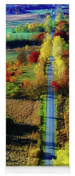 Illinois Country Road Tree Top Sunset Fall  Yoga Mat