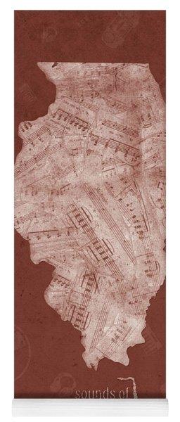 Illinois Map Music Notes 5 Yoga Mat