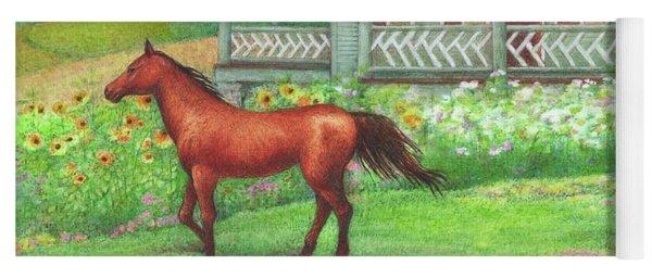 Illustrated Horse Summer Garden Yoga Mat