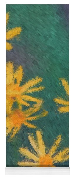Impressionist Yellow Wildflowers Yoga Mat