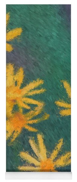 Impressionist Yellow Wildflowers Yoga Mat