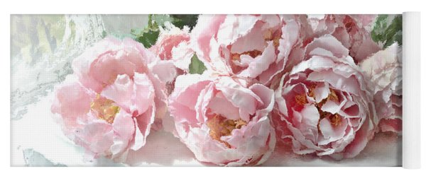 Impressionistic Watercolor Pink Peonies - Pink And White Romantic Shabby Chic Still Life Peonies Art Yoga Mat