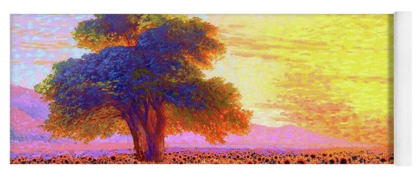 In Awe Of Sunflowers, Sunset Fields Yoga Mat