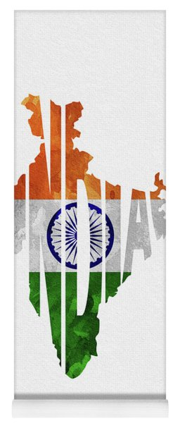 India Typographic Map Flag Yoga Mat