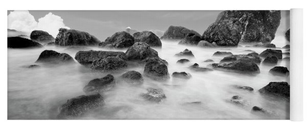 Indian Beach, Ecola State Park, Oregon, In Black And White Yoga Mat