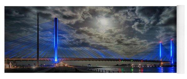 Indian River Bridge Moonlight Panorama Yoga Mat