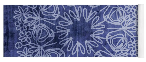 Indigo Mandala 1- Art By Linda Woods Yoga Mat