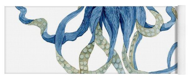 Indigo Ocean Blue Octopus  Yoga Mat