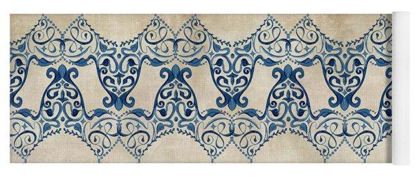 Indigo Ocean - Caribbean Inspired Watercolor Swirl Pattern Yoga Mat