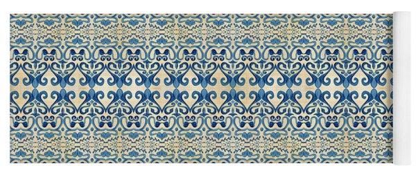 Indigo Ocean - Caribbean Tile Inspired Watercolor Swirl Pattern Yoga Mat