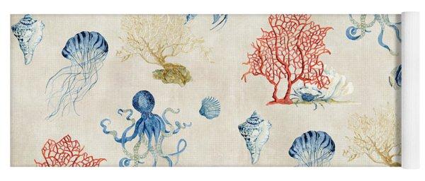 Indigo Ocean - Red Coral Octopus Half Drop Pattern Yoga Mat