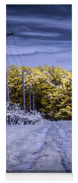 Infrared Orchard Road Landscape In Blue And Yellow Yoga Mat