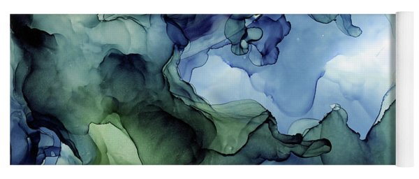 Ink Abstract Painting Blues Greens Yoga Mat