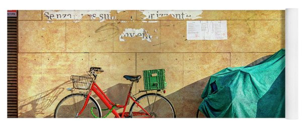 Intere Red Bicycle With Green Basket Yoga Mat