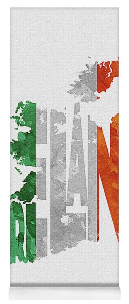Ireland Typographic Map Flag Yoga Mat