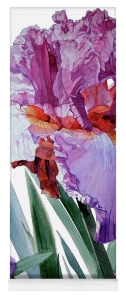 Watercolor Of A Tall Bearded Iris In Pink, Lilac And Red I Call Iris Pavarotti Yoga Mat