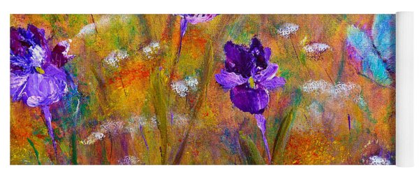 Iris Wildflowers And Butterfly Yoga Mat