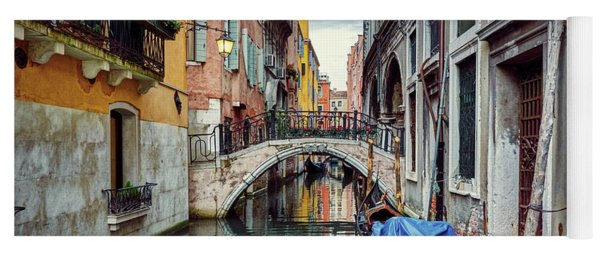Gondola Parked On Lonely Water Canal In Venice, Italy Yoga Mat