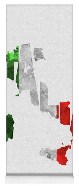 Italy Typographic Map Flag Yoga Mat